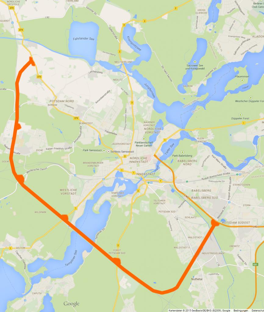 Karte mit Strecke